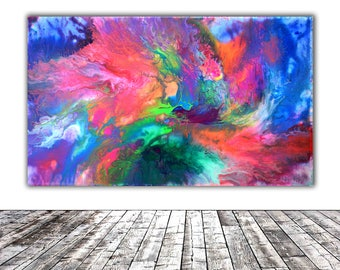 """MODERN ABSTRACT ART - 20x12"""" - Fusion 7, Unique Original Fluid Abstract Painting Fine Art One of a Kind, Gift Wall Decor"""