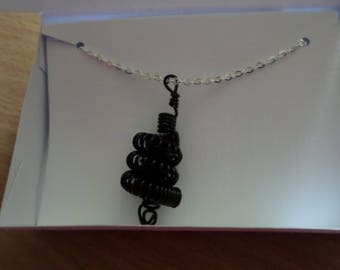 Black wire coiled necklace