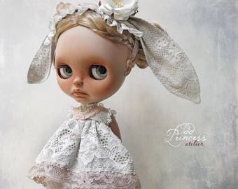 "Luxury Grey Silk Bunny Set ""Love At First Sight"" For Blythe/Pullip Dolls By Odd Princess, Special Set"
