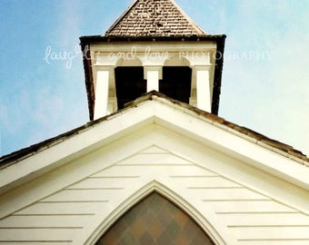 Christmas in July Chapel Photo, Church Photography, White Stained Glass Window Religion Worship Shabby Chic Architecture Travel Print Home D