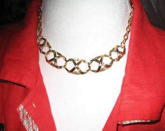 AVON Gold Tone Necklace - Bamboo Trellis Design from 1992