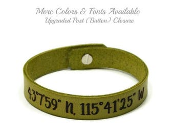 Latitude Longitude Bracelet, Custom Coordinates, GPS Bracelet, Leather Bracelet, Laser Engraved Bracelet, Upgraded Post (Button) Closure
