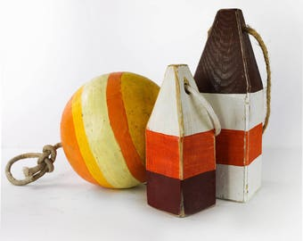 Set 3 Lobster Buoys Orange Yellow White Nautical Coastal Decor by SEASTYLE