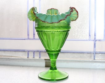 Antique Green Glass Vase Ruffled Rim Red Trim Opalescent EAPG