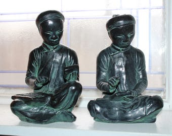 Austin Products Sculpture Asian Mathematician & Scribe Bookends 1961