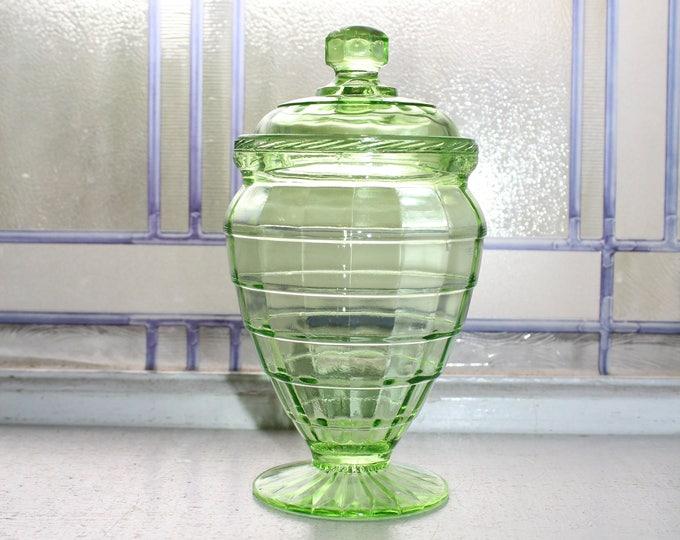 Green Depression Glass Candy Jar Block Optic