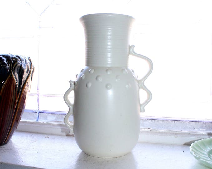 Vintage Mid Century White Vase Red Wing Pottery 1209 Art Deco