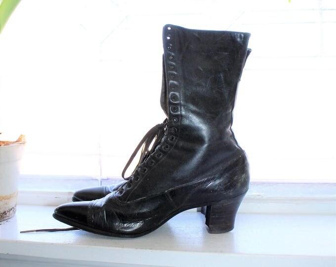 Victorian Womens Black Lace Up Shoes Antique 1900s Edwardian Steampunk