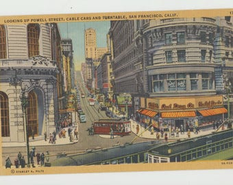 Linen Postcard, San Francisco, California, Looking up Powell Street, Cable Cars