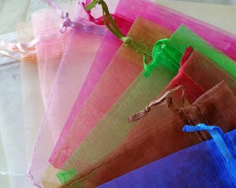 13 x 17 cm Organza Bags of Assorted Colors -- Perfect for Jewelry, Wedding Favors, and Gift Packaging (.sc)