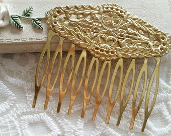 60 mm x 29 mm Golden Plated Copper Hand made Hair Comb Finding with Setting (t.sa)