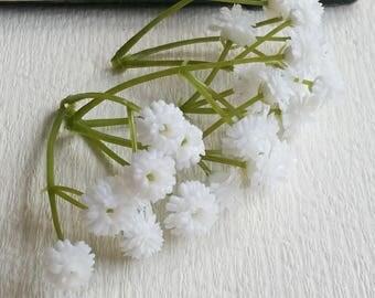White Tiny Baby's Breath Bush Plastic (gypsophila) Flowers/wedding/ Flower crown /Flower Bouquet/ Brooch/Hat accessories(t.a)