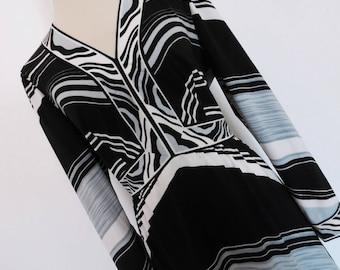 SALE :)) PSYCHEDELIC MONOCHROME . L Xl Bold Graphics Op Art Chevron Print Maxi Dress Fab Colors 70s  L