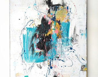 "Modern wall art, Original Modern abstract, urban art, mixed media contemporary artwork, turquoise & coral, home decor,  20x16"" Canvas 