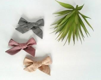 Set of three headbands nylon modern gray dusty pink rose peach clip