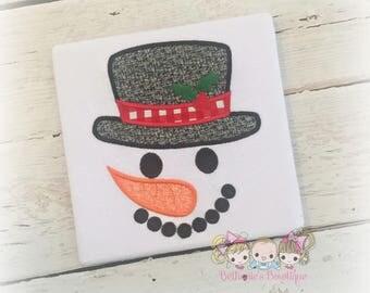 Christmas snowman shirt -cute snowman face shirt - 1st Christmas shirt - holiday snowman face shirt or bodysuit - boys Christmas shirt