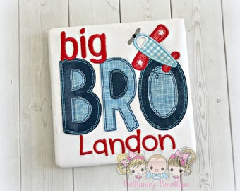 Big brother airplane themed shirt - big brother to be - big bro airplane shirt - personalized big brother shirt - vintage airplane shirt