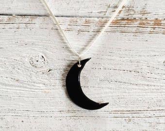 Black Ceramic Moon Pendant, Moon Jewelry, Bohemian Chic, Moon Child, Unique Gift, Ceramics, Ceramic Jewelry