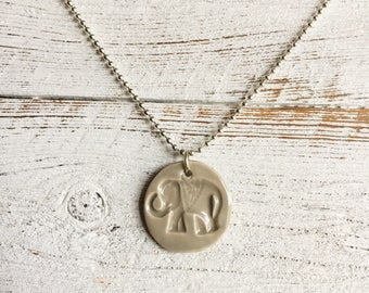Ceramic Elephant Pendant, Greige, Unique Gift, Boho, Zen, Gift for Her, Ceramics, Elephant Jewelry, Ceramic Jewelry