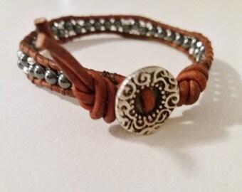 Energy bracelet, elegant bracelet, hematite gemstone bracelet, leather wrap bracelet, chic wrap bracelet