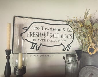 LARGE Farmhouse kitchen sign antique advertising sign general store sign pig sign cottage kitchen rustic farmhouse decor chippy white paint