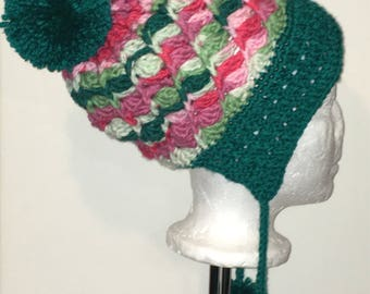 Crotchet Toque with Brim | Adult Toque | Stripe Pattern | Crotchet Hat | Beanie | Green,pink