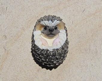 LG. Happy Hedgehog - Handmade Flameworked Glass Sculpture Bead - SRA