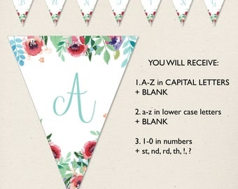 Printable Bunting Banner, Birthday, Christening, Baptism, Baby shower, Alphabet & Numbers, Watercolour, flowers, floral DIY banner, Decor
