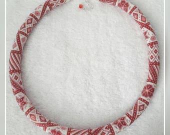 Elegant romantic pink and whitr patchwork bead crochet necklace handmade jewelry