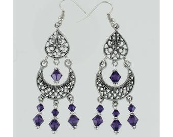 CHANDELIER EARRINGS - Pewter and Purple Swarovski Crystal on  Ear Wires