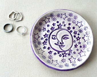 Sun and Moon Spiritual Jewelry Ring or Soap Holder Dish Unique Anniversary Decorative Birthday Gift Handmade Pottery Keepsake Home Decor