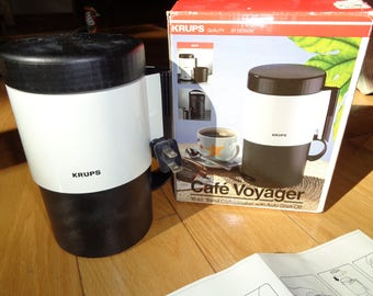 Retro KRUPS Cafe Voyager Coffee Maker, A Travel Coffeemaker with Auto Shut Off in the original box package in good working condition