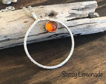 Gorgeous Baltic Amber Silver Circle Necklace / Hand Forged Sterling Silver Necklace / Floating Amber Necklace / Baltic Amber Jewelry