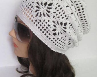 Women Summer Slouchy Beanie Women Sun Hat Slouchy Summer Hat Women Slouchy Beanie, White Summer Slouchy Hat for women, Women Spring Hats