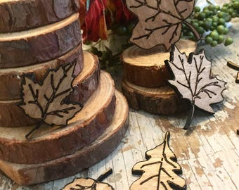 Fall decor, table decor, thanksgiving table , wood decor, party decor, wooden fall leaves, acorn, fall table, custom, unfinished