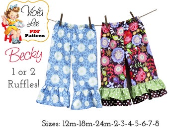 Becky Girl's Ruffled Pants Pattern. Capris Pattern. Girl's Sewing Pattern. Toddler Ruffle Pants Pattern. Girl's Pants Sewing Pattern. PDF