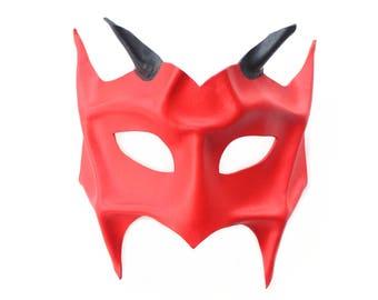 Red Leather Devil Demon Horned Masquerade Mask, Handmade