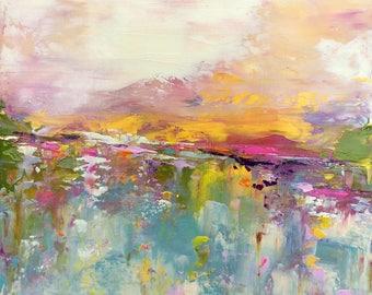 Abstract Landscape - 'Sunday Rocks' - acrylic painting on canvas - size 30cm x 30cm