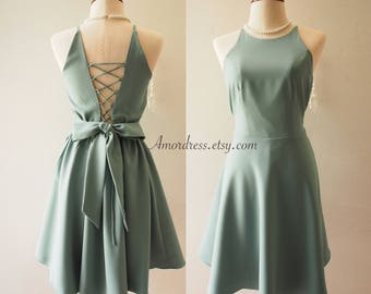 Cross Rope dress Sage Green Party Dress Vintage Bridesmaid Dress 1950 Style Dress 50 shades dress backless La La Land Cocktail Prom Dress