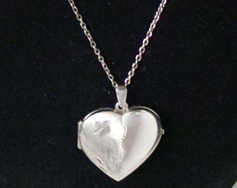 Large Heart Locket Vintage Sterling Italy