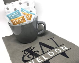 Custom Tea Towel Gift Set - monogram, tea lovers, grey, gray, personalized, tea mug, gifts, hostess, bridesmaid, housewarming, tea party