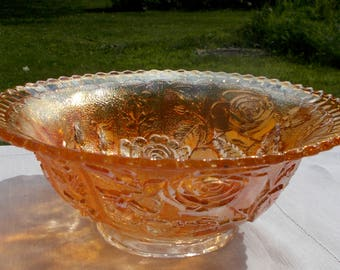 40s Imperial Glass Co ROSE Bowl Marigold Carnival Glass