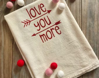 Tea Towel Flour Sack Valentine's Day  Natural Feed Sack Kitchen Towel