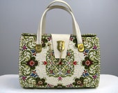 Vintage 1960s Tapestry Carpet Bag 60s Tapestry Purse with Toggle Clasp