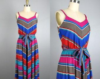 Vintage 1970s Chevron Knit Dress 70s Colorful Striped Sundress with Belt Size M