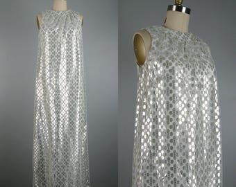 Vintage 1960s Dress 60s Silver Lurex Lace Column Gown Flowery Silver Lace Dress Size S
