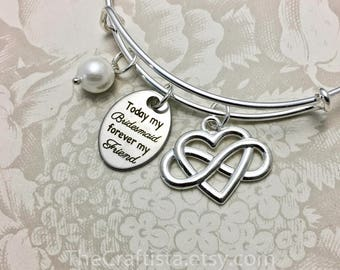 TBF, Personalized Bridesmaid Bangle with Infinity Heart Charm and Pearl Charm, Bridesmaid Gift, Bridesmaid Bracelet, Bridesmaid Jewelry