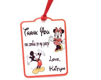 Mickey & Minnie Thank You Party Favor Tags, Set of 12 Mickey and Minnie Mouse Personalized Happy Birthday Party Favors Thank You tags