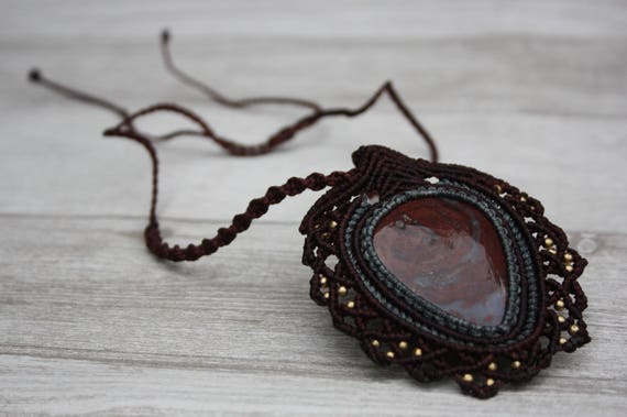 RUBY MACRAME NECKLACE- Statement Macrame Necklace- Limited Edition- Macrame Choker- Crystal Necklace- Handmade -Ruby -Agate -Healing Crystal