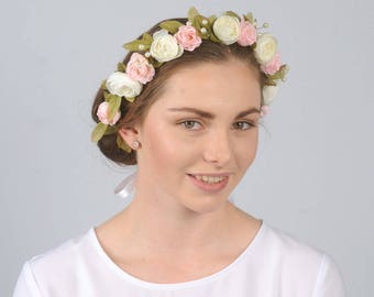 Pink and Ivory Flower Head Piece Floral Headband Bridal Hair Accessory Wedding Hair Piece Floral Headpiece Bridesmaid Flower Crown Hairband